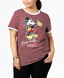 Disney Plus Size Striped Mickey Mouse T-Shirt
