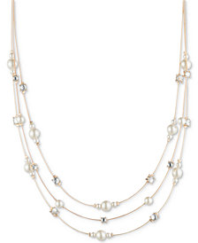 "Anne Klein Gold-Tone Crystal & Imitation Pearl Triple-Row Strand Necklace, 16"" + 3"" extender"