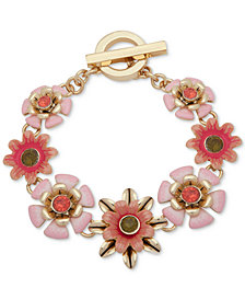 Anne Klein Gold-Tone Flower Toggle Bracelet