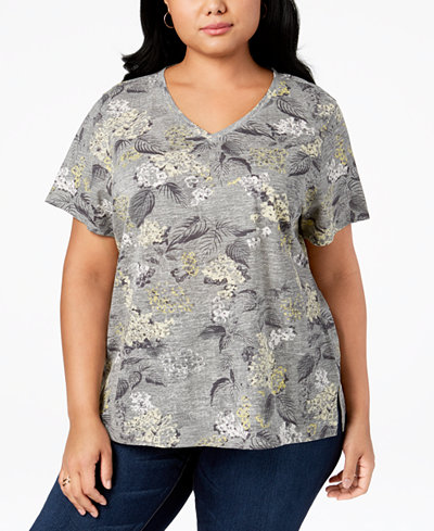 Style & Co Plus Size Cotton Mixed-Print T-Shirt, Created for Macy's