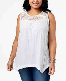 Style & Co Plus Size Cotton Sheer-Yoke Handkerchief Hem Sleeveless Top, Created for Macy's