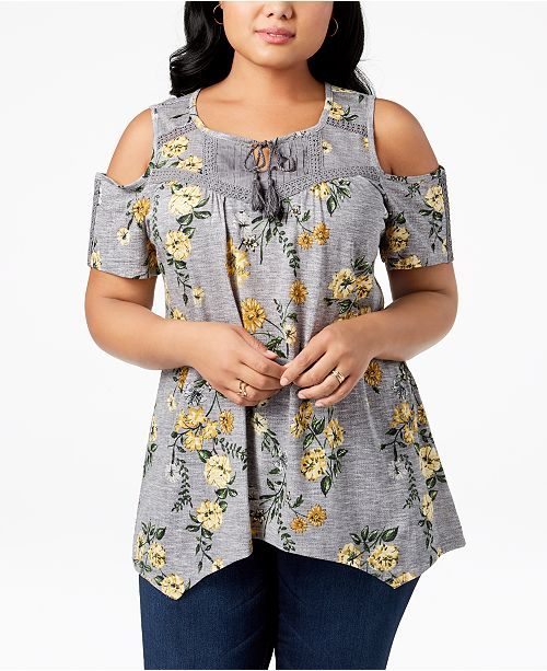 Style & Co Plus Size Printed Crochet-Trim Cold-Shoulder Peasant Top, Created for Macy's