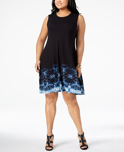 Style & Co Plus Size Printed Sleeveless A-Line Dress, Created for Macy's