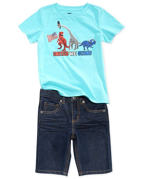 Epic Threads Dino-Print T-Shirt & Denim Shorts Separates, Toddler Boys, Created for Macy's