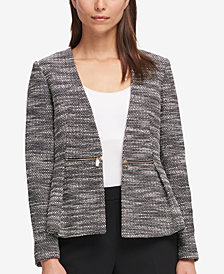 DKNY Open-Front Tweed Jacket, Created for Macy's