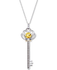 "Citrine (3/8 ct. t.w.) & Diamond Accent Key 18"" Pendant Necklace in Sterling Silver & 10k Gold"