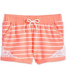 Epic Threads Striped Crochet-Trim Shorts, Big Girls, Created for Macy's