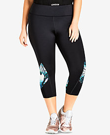 City Chic Trendy Plus Size Sport Cropped Leggings