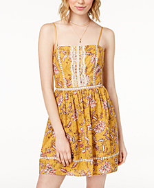 City Studios Juniors' Crochet-Inset Printed Dress