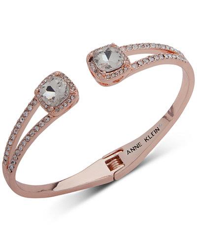 Anne Klein Crystal & Pavé Hinged Bangle Bracelet, Created for Macy's