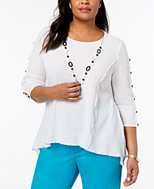 Alfred Dunner Barcelona  Plus Size Necklace Tunic Top