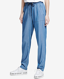 DKNY Drawstring Chambray Pants, Created for Macy's