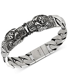 Men's Tiger Head Motif Gourmette Link Bracelet in Sterling Silver