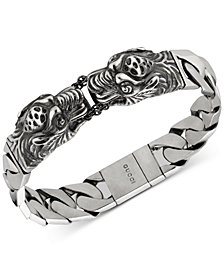 Gucci Men's Tiger Head Motif Gourmette Link Bracelet in Sterling Silver