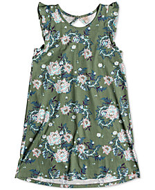 Roxy Cut Out Floral-Print Cotton Dress, Big Girls