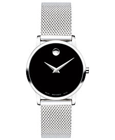Movado Women's Swiss Museum Classic Stainless Steel Mesh Bracelet Watch 28mm