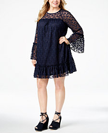 MICHAEL Michael Kors Plus Size Ruffled Lace Dress
