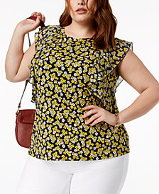 MICHAEL Michael Kors Plus Size Printed Flutter-Sleeve Top