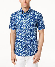 Michael Kors Men's Slim-Fit Tropical-Print Shirt