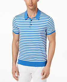 Michael Kors Men's Striped Polished Polo Sweater