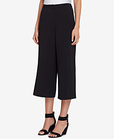 Tahari ASL Cropped Wide-Leg Crepe Pants