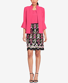 Tahari ASL Bell-Sleeve Jacket & Embroidered Skirt, Regular & Petite