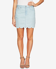 CeCe Cotton Scalloped-Hem Denim Skirt