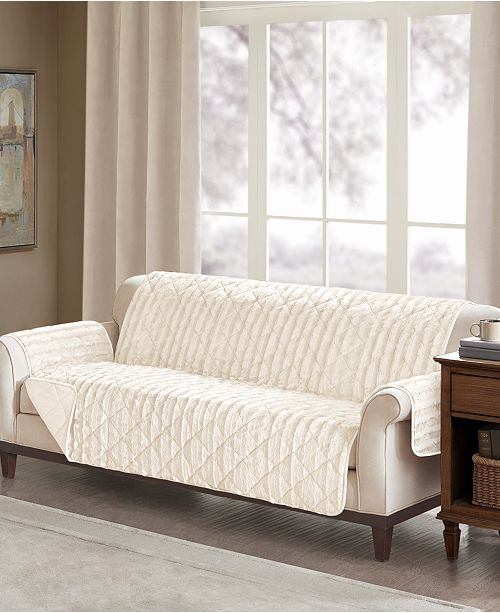 Madison Park Duke Reversible Diamond-Quilted Faux-Fur Furniture Protectors