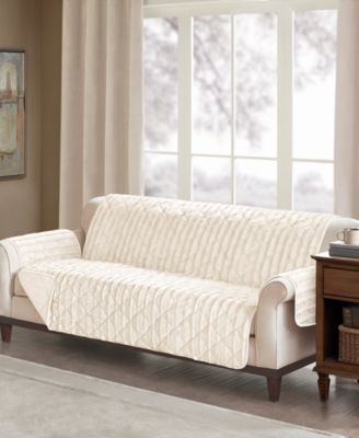 Madison Park Duke Reversible Diamond Quilted Faux Fur Sofa Protector