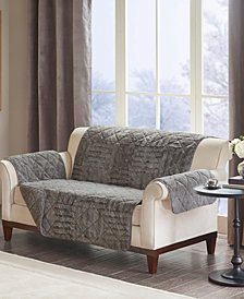 Madison Park Arctic Quilted Checkerboard Long Faux-Fur Loveseat Protector