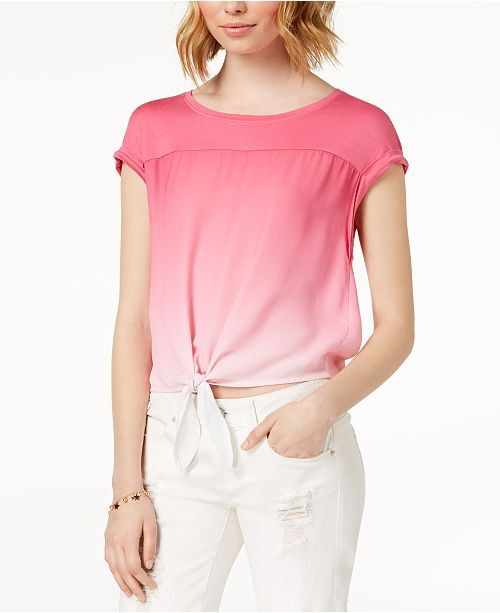 Berry Dyed Rose Ombre Tie Hippie Juniors' Top qSOn4A