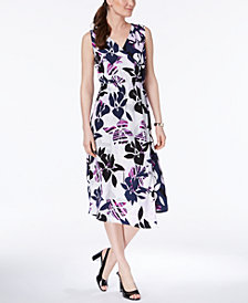 Alfani Petite Printed Faux-Wrap Midi Dress, Created for Macy's