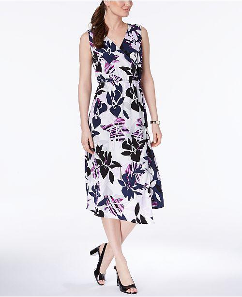 Alfani Petite Printed Faux Wrap Midi Dress Created For Macys