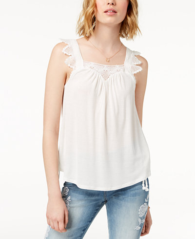 American Rag Juniors' Lace-Trim Tank Top, Created for Macy's