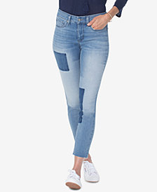 NYDJ Alina Two-Tone-Patch Ankle Skinny Jeans