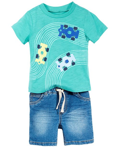 Graphic-Print T-Shirt & Denim Shorts Separates, Baby Boys, Created for Macy's