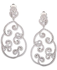 Silver-Tone Cubic Zirconia  Pavé Swirl Drop Earrings