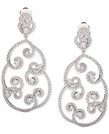 Nina Silver-Tone Crystal Pavé Swirl Drop Earrings