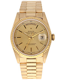 Pre-Owned Rolex Men's Swiss Automatic Double Quickset President 18K Gold Bracelet Watch 36mm