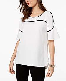 Petite Piped Flutter-Sleeve Top, Created for Macy's