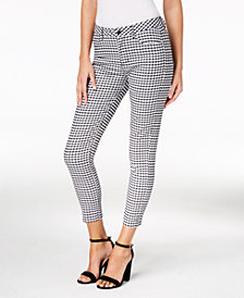 GUESS Marilyn Gingham-Print Ankle Skinny Pants