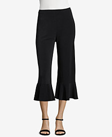 ECI Cropped Ruffled-Hem Pants