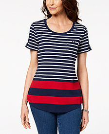 Karen Scott Petite Multi-Stripe Top, Created for Macy's