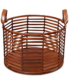 Madison Park Signature Newport Leather Stripe Basket Medium