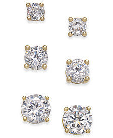 Charter Club Gold-Tone 3-Pc. Set Crystal Stud Earrings, Created for Macy's