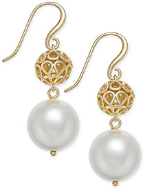 Charter Club Gold-Tone Filigree & Imitation Pearl Drop Earrings, Created for Macy's