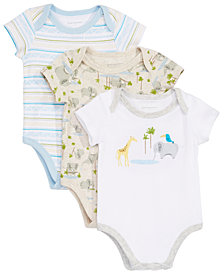 First Impressions Baby Boys 3-Pack Cotton Bodysuits, Created for Macy's