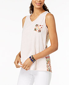 Style & Co Petite Cotton Printed Crochet-Back Top, Created for Macy's