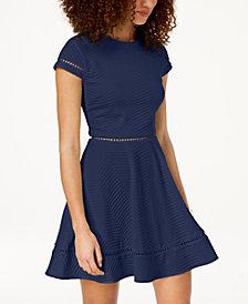 City Studios Juniors' Textured Fit & Flare Dress