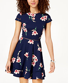 City Studios Juniors' Printed Crochet-Inset Fit & Flare Dress